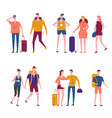 travelers cartoon traveling people icons vector image