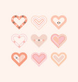 trendy pink color cute assorted hearts icons set vector image vector image