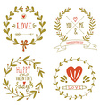 Valentines day wreaths with messages and other vector image vector image