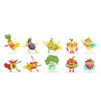 vegetables superheroes flat characters vector image
