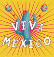 viva mexico lettering with cactus and maracas vector image vector image