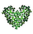 Watercolor Green Clover Heart by the St Patricks vector image