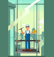 windows cleaner of high rise buildings vector image