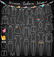 Woman Fashion Clothes Silhouette on Chalkboard vector image