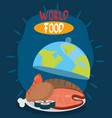 world food day different proteins and bread vector image vector image