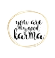 You are my good karma inscription Greeting card vector image vector image