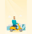 young caucasian man riding a scooter vector image vector image