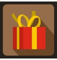 Christmas box with yellow bow icon flat style vector image