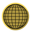 earth globe sign flat black icon with vector image