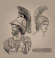 ares greek god war digital sketch hand vector image