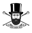 bearded gentleman head in vintage hat design vector image vector image