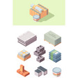 building construction materials isometric set vector image vector image