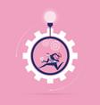 businessman running inside wheel concept vector image