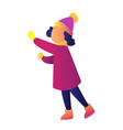 child wearing winter clothes vector image