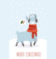 christmas card with lama funny magic cute vector image vector image