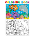 coloring book with marine animals 6 vector image