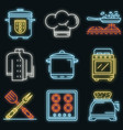 cooker icon set neon vector image vector image