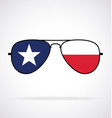cool aviator sunglasses with texas state flag vector image vector image