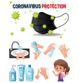 coronavirus protection logo with hands using vector image vector image