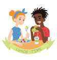 couple eating of vector image