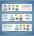 cubes infographic horizontal banners vector image vector image