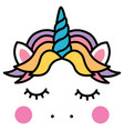 cute sleeping unicorn head colorful rainbow vector image vector image