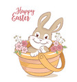 Easter bunny in a basket with flowers greeting vector image