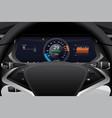 electric car dashboard display closeup vector image