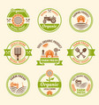 farming organic products colored emblems vector image vector image