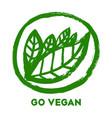 go vegan hand drawn leaves in green circle vector image