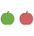 green and red apple flat icon vector image vector image