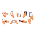 hand holding smartphone gestures use vector image
