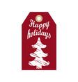 happy holidays promo hanging label sketch tree vector image