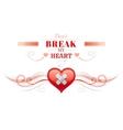 Happy Valentines day border broken heart patch vector image vector image