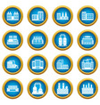 industrial building icons blue circle set vector image