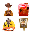 isolated object wild and west sign collection vector image vector image