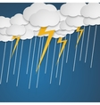 Lightning with rain in clouds Cartoon style vector image