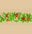 lingonberry branches pattern vector image vector image