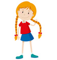 Little girl with long hair vector image