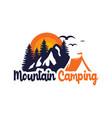 logo design camp in mountains vector image