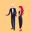 man in suit and woman in dress vector image vector image