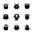 monster big set black silhouette happy halloween vector image vector image