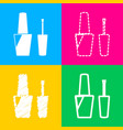nail polish sign four styles of icon on four vector image vector image
