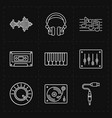Nine universal flat music icons