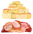 Piles of different realistic delicacy cheeses and