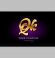 qk q k 3d gold golden alphabet letter metal logo vector image vector image