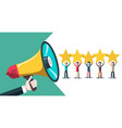 rating with stars people and megaphone vector image vector image
