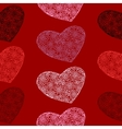 seamless pattern of hearts on a blood-red vector image vector image