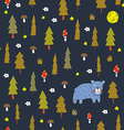 Seamless pattern with a bear in the night