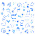 seamless pattern with blue outline shopping icons vector image